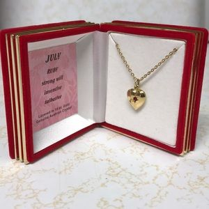 Jewelry - Gold heart necklace with Ruby gemstone
